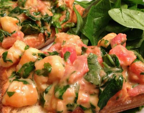 Bruschetta with Shrimp, Tarragon & Arugula