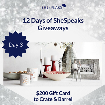12 Days of SheSpeaks Day 3: Win a $200 Crate & Barrel Gift Card! #thankFULL