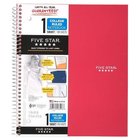 Five Star Spiral Notebook 1 Subject College Ruled